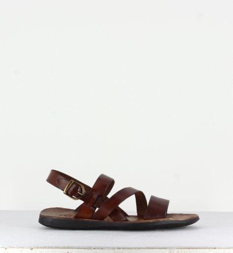 Sandales en cuir marron pour hommes Brador Shoes CLOSE