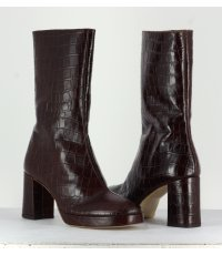Bottines en croco marron Miista - CARLOTA CROCO