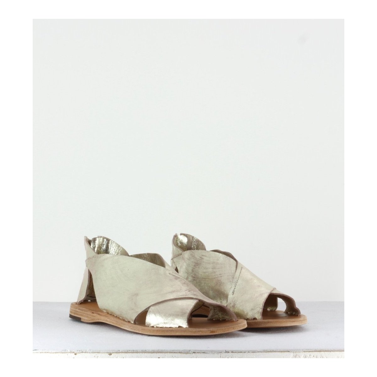 Sandales plates dorées - Itaca 026 Platino