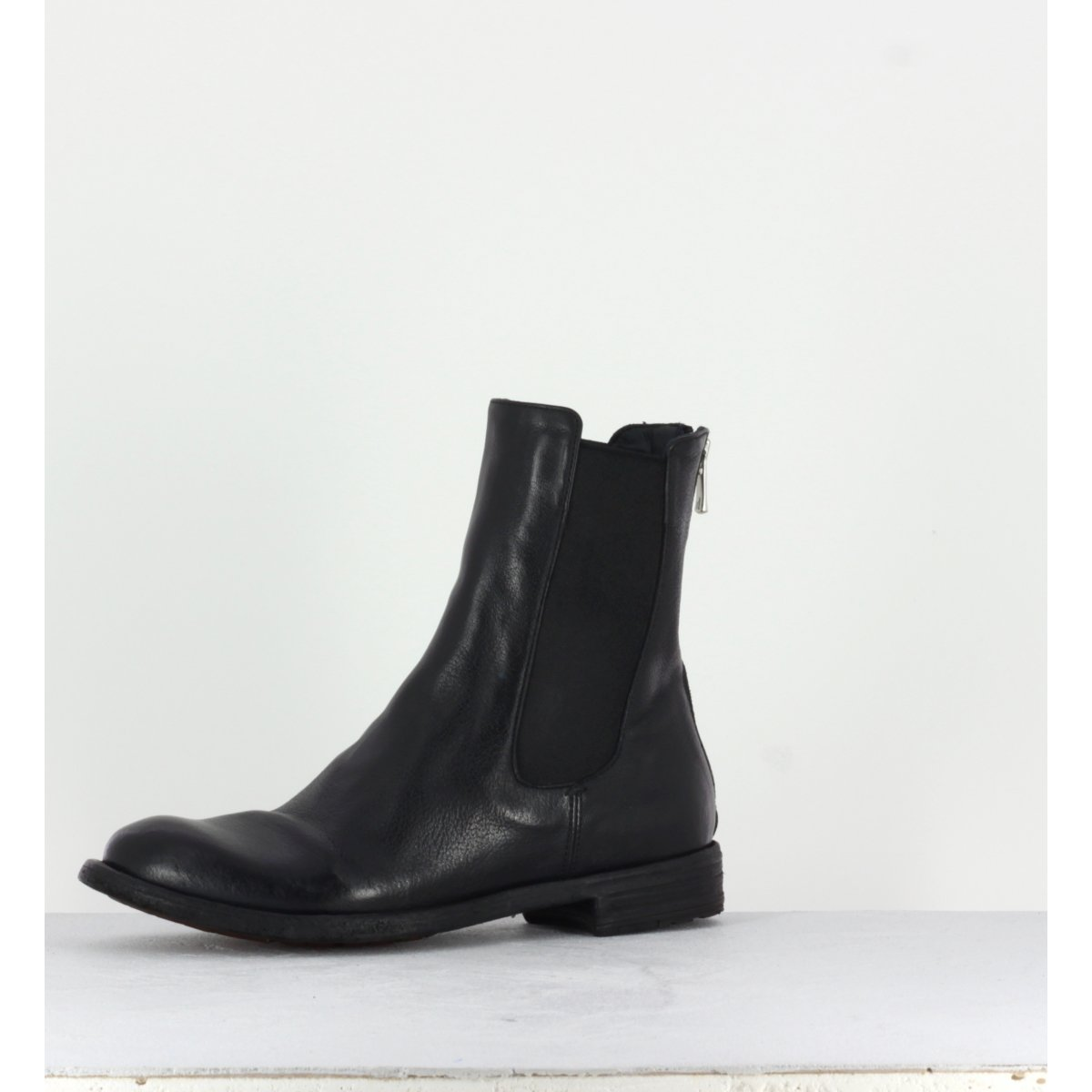 Bottines plates en cuir noir Officine Creative  pour femmes - LEXIKON/073N