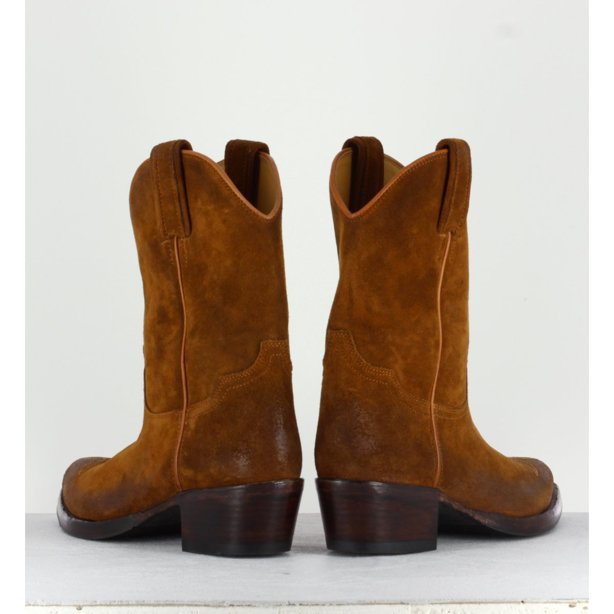 Bottines santiag en croûte cognac 206- Garrice Collection
