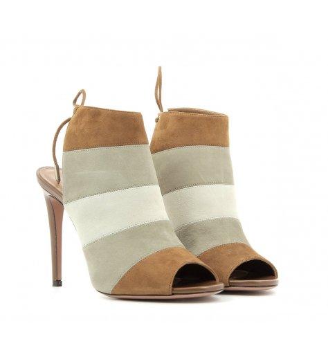 Sandales à talons en daim camel beige et blanc cassé - Aquazzura