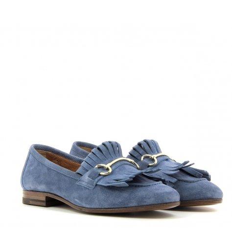 Mocassins slipers en daim bleu jeans - Henderson