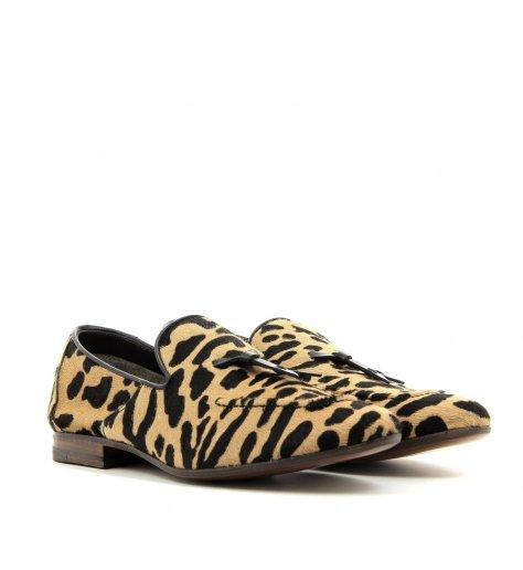 Mocassins slippers plats en pony léopard - Henderson