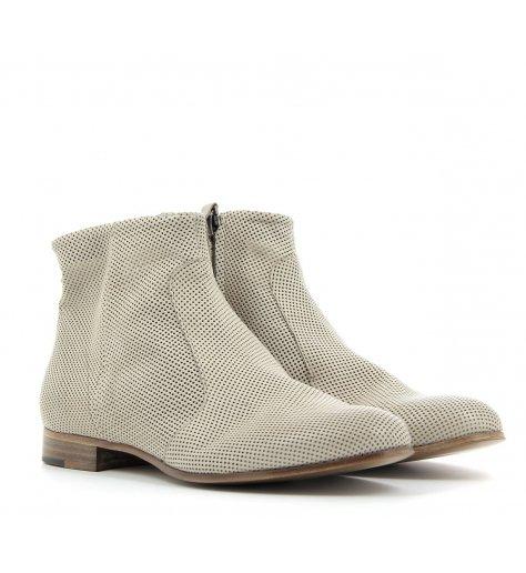 Bottines boots plates en cuir gris  - Laboratori Garbo