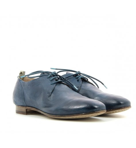 Derbies plats en cuir bleu - Officine Creative