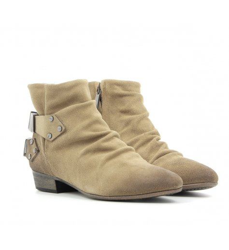 Bottines / boots plates en daim camel - Fury London