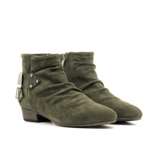 Bottines / boots plates en daim Khaki - Fury London
