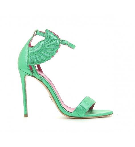 Sandales à talons hauts vert metallisé - Oscar Tiye