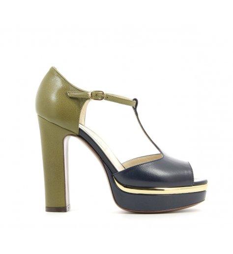 Sandales à talons haut vert et kaki - L'autre chose