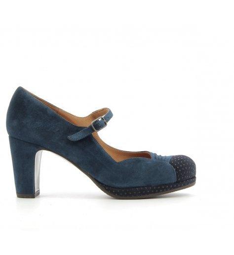 Escarpins à talons en daim bleu Chie Mihara