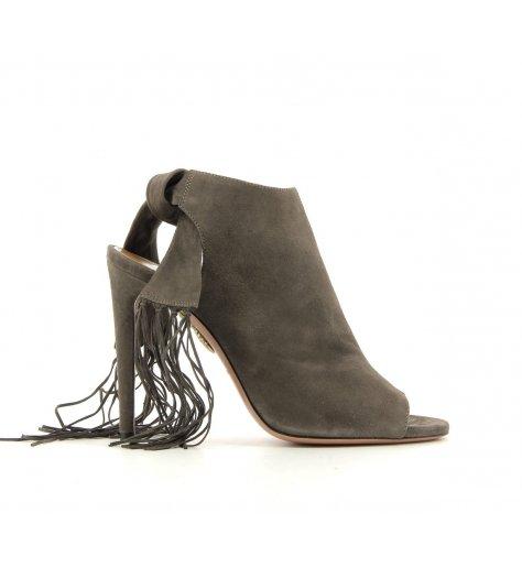 Sandales à talons et fanges en daim gris Fringe tie 105 - Aquazzura