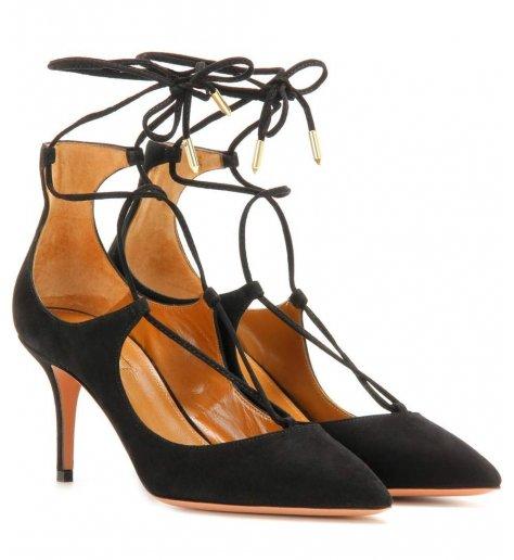Escarpins à talons noirs avec lacets Christypump 75- AQUAZZURA