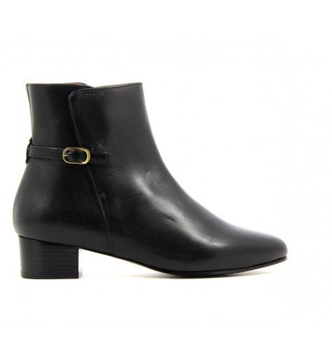 Bottines boots plates en cuir lisse noir - Anne Thomas