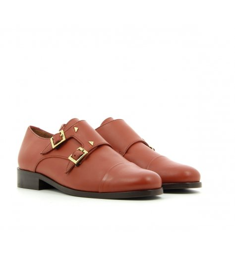 "Derbies plats style ""college"" en cuir brique - Anne Thomas"
