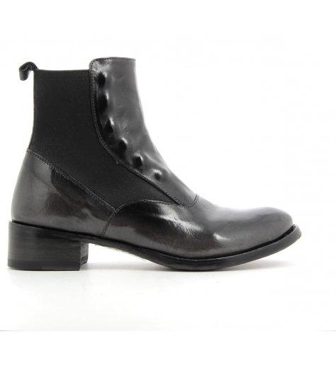 Chelsea boots plates en cuir noir / gris Doillon022 - Officine Créative