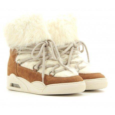 Boots fourrées blanc et camel - Serafini