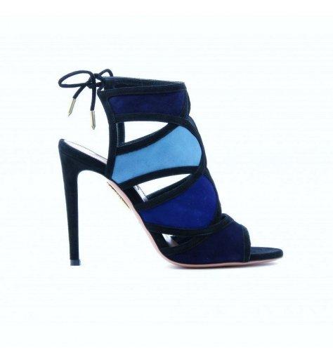 Sandales à talons à découpes en daim bleu - Aquazzura