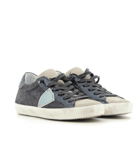 Sneakers en patchwork marine classic low mixage - Philippe Model