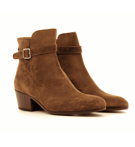 Bottines boots à talons moyens en daim camel Ester - Henderson