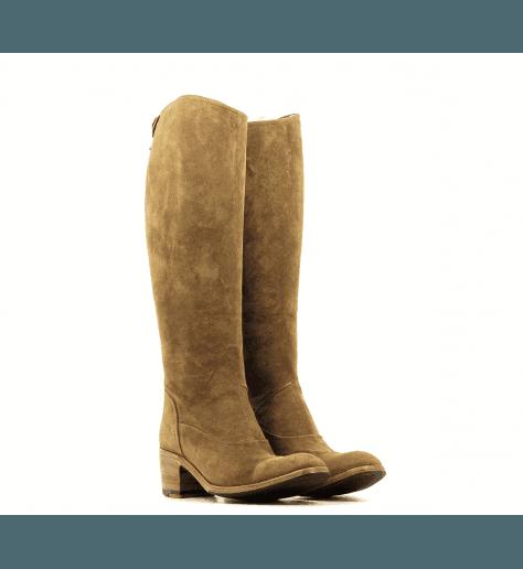 Bottes à talon bottier en veau velour camel OXANA35036 - Alberto Fasciani