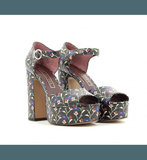 Sandales à plateformes en cuir noir fleuri - Marc Jacobs