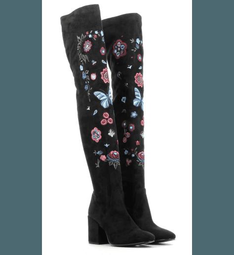 Botte genouillère en daim stretch noir fleuri A3017 - Garrice collection