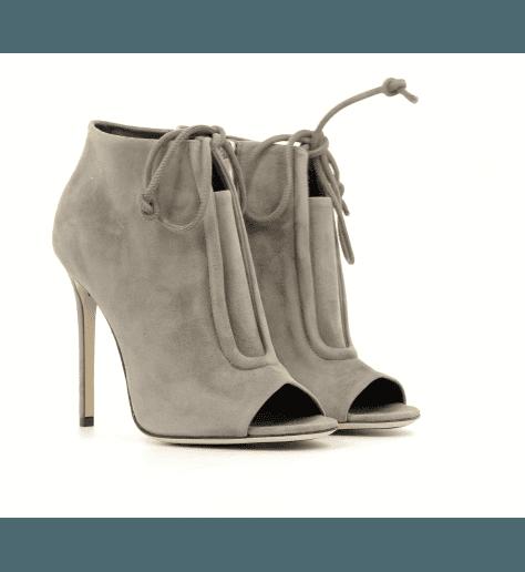 Bottines open-toe à talons en veau velours - GreyMer