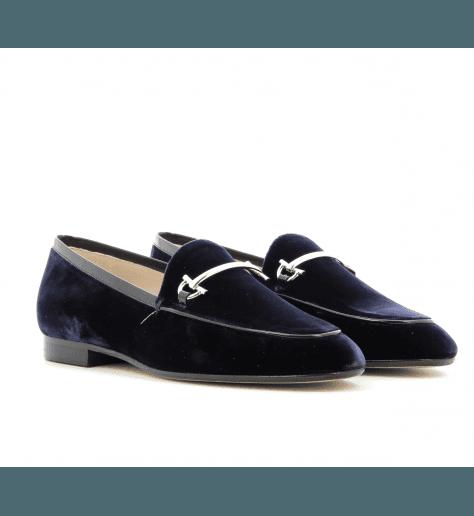 Mocassins en velour bleu - Garrice Collection