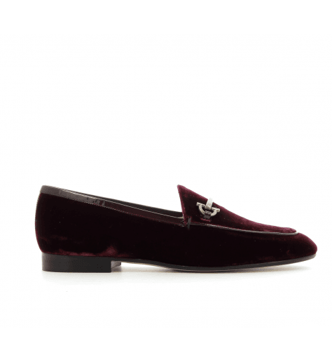 Mocassins en velour bordeau - Garrice Collection