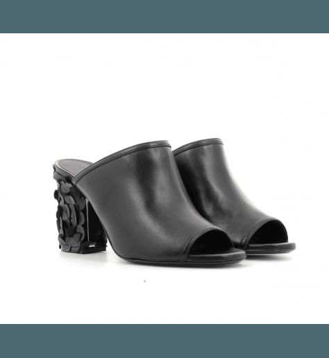 Mules en cuir noir 721- Grey Mer