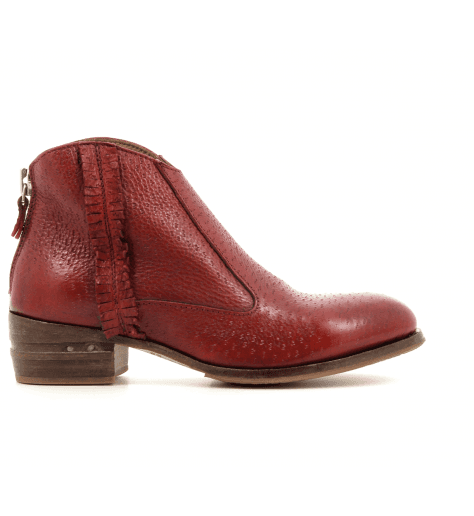 Bottines plates en cuir rouge 32702R - Moma