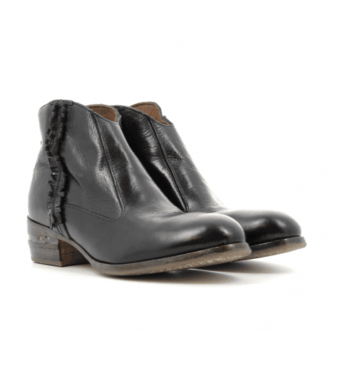 Bottines plates en cuir noir 32702NO - Moma
