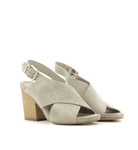 Sandales en velours taupe 3905T- Garrice Collection