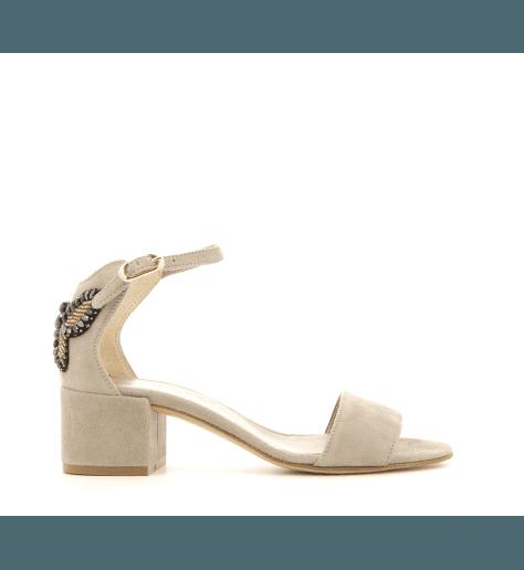 Sandales à talons en velours taupe D631014- AGL