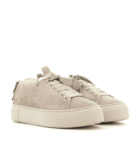 Sneakers en velours taupe D925034- AGL