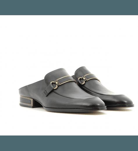 Mules mocassins en cuir noir VB28040 - Veronique Branquinho