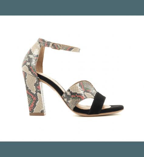 Sandales bi-matières noires et serpent à talons LUA - Chie Mihara