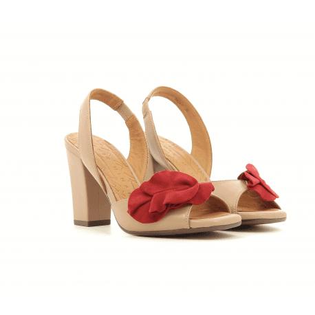 Sandales en cuir  nude avec fleur rouge ANAMI - Chie Mihara
