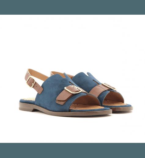 Sandales plates en cuir bleu QUERETE  - Chie Mihara