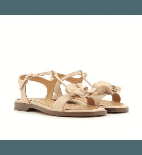 Sandales plates en velours beige et doré SUBLIME30  - Chie Mihara