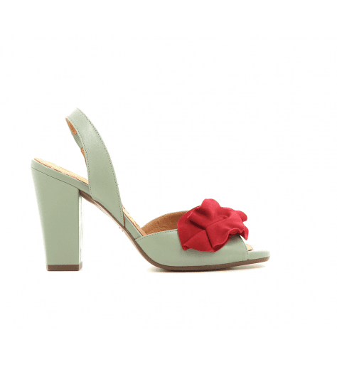 Sandales en cuir gris avec fleur rouge ANAMI1 - Chie Mihara