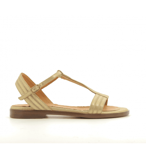 Sandales plates en cuir doré JARI30 - Chie Mihara