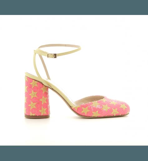 Sandales à talon a sequin rose et jaune ELDA1 - Lenora