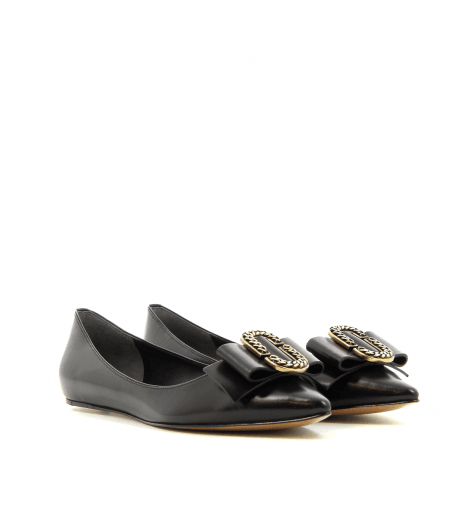Ballerines  pointues en cuir noir INTERLOCK - Marc Jacobs