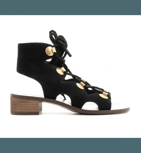 Sandales plates en suede noir SB28231N - See By Chloé