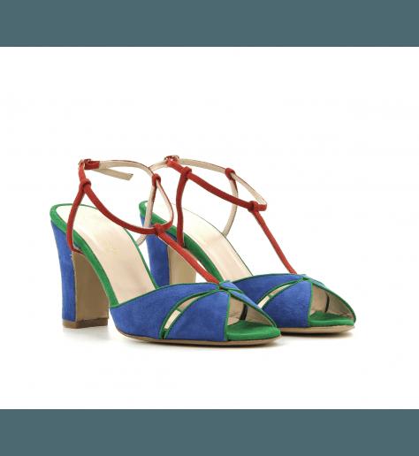 Sandales à talon en suede bleu TINA - Lenora