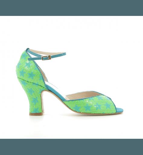 Sandales à talon en sequin vert Gilda - Lenora