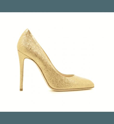 Escarpins en cuir doré 4158001DO - Garrice Collection