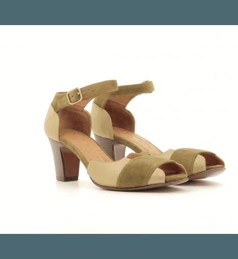 Sandales à talons en cuir kaki et doré HOT2- Chie Mihara